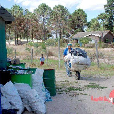Recycling rubbish on wheelbarrow