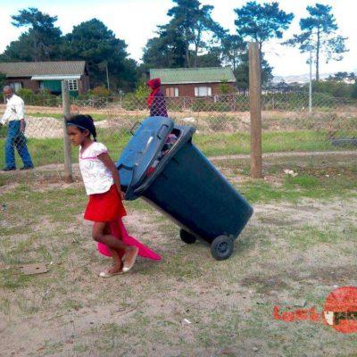 Dragging rubbish bin