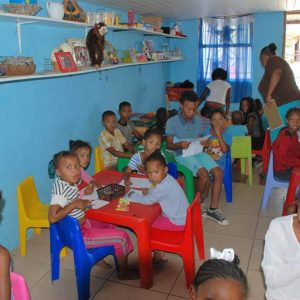 Doing homework at the After-school Care house