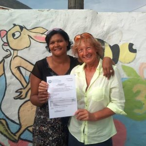 Claudia and Margrit with the nonprofit registration form