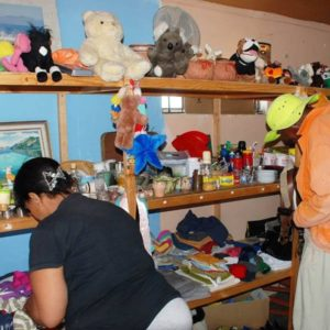 Shelves filled with toys, household items and clothing