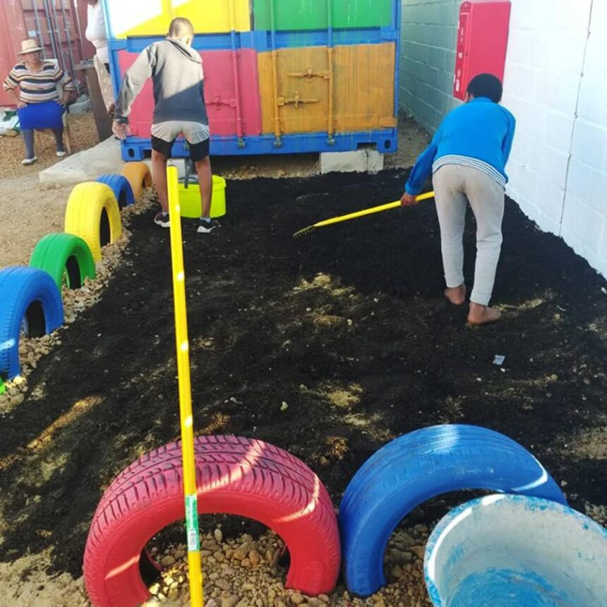 Creating the garden at the Youth Centre