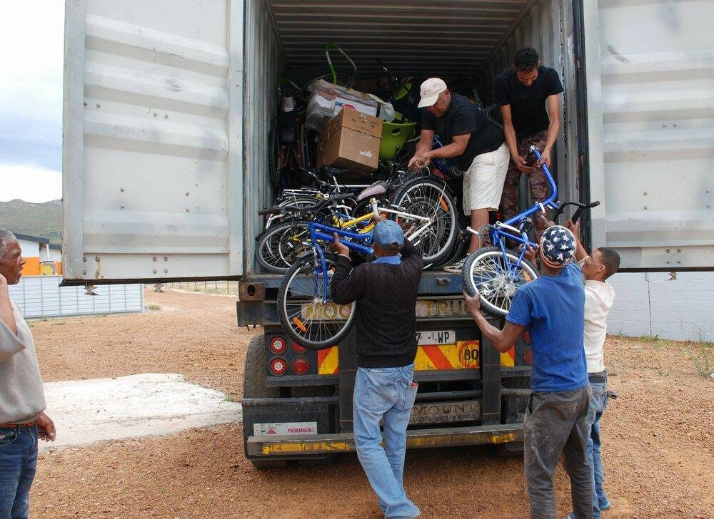 Unloading the bicycles first