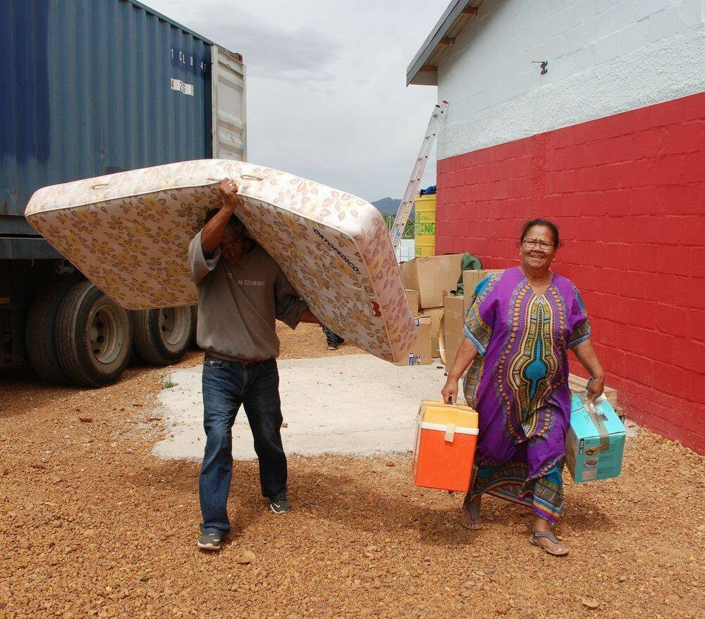 One of the mattresses on its way to its new home