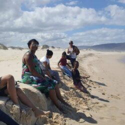 Resting on Kleinmond beach before continuing on the long walk